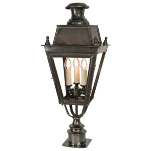 Balmoral Short Pillar Lamp with 3 light cluster by the limehouse lamp co