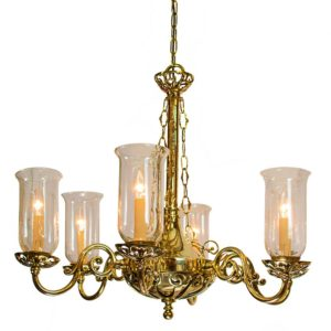 Empire 6 Arm Chandelier with storm glasses by the limehouse lamp company